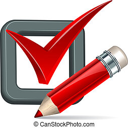 Red pencil and tick mark icon Vector illustration
