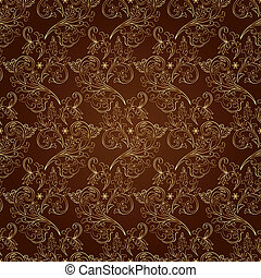 Floral vintage seamless pattern on brown background. Vector...