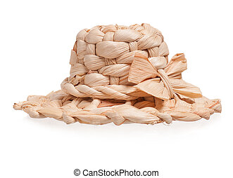 Straw hat for toy doll isolated on white background
