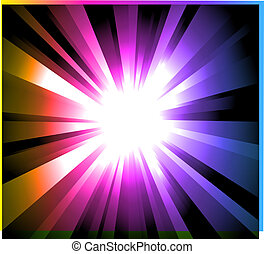 Light Explosion with Rainbow gradient background - Magic...