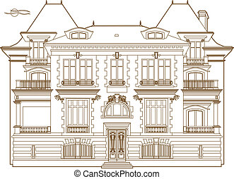 Ocher drawing of the castle - Vector illustration of a...