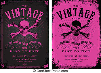 Vector Vintage Pink Poster Set. Easy to edit, all pieces are...