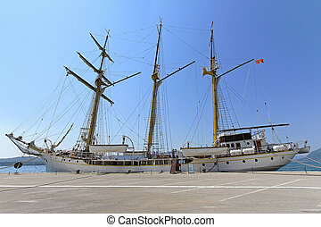 Tall ship Jadran at dock in Tivat Montenegro