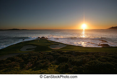 Pebble Beach golf course, Monterey, - A view of Pebble Beach...