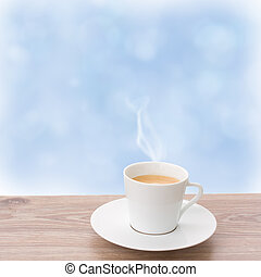 cup of coffee on window - cup of coffee on wooden sill and...