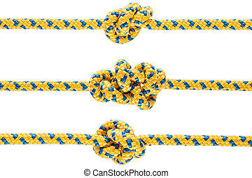 Tied knot on rope or spring - Twisted rope or string with...