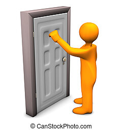 Frontdoor Knocking - Orange cartoon character knocks on the...