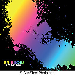 Grungy Water Drops with Rainbow Spectrum of colours -...