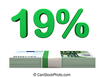 19 Prozent Euro - 19 percent in green color with euro...