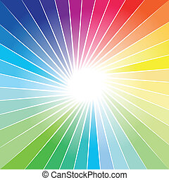Rainbow Ray of lights explosion background - Abstract...