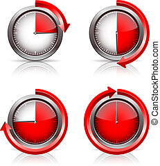 Set of Timer clocks, 15, 30, 45, 60 minutes. vector...