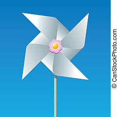 Paper pinwheel isolated on blue background
