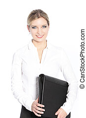 Smiling office worker carrying a file - Smiling attractive...