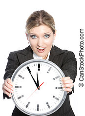 Woman in hurry - Conceptual portrait of businesswoman...