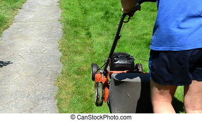 worker cut grass - gardener man with shorts and flip-flop...