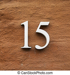 Nr. 15 - three dimensional house number fifteen. White...
