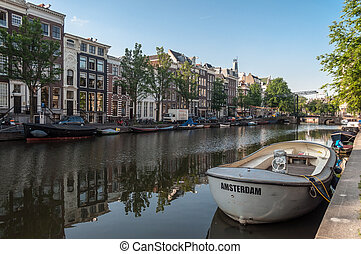 Anchored boats in Amsterdam, Netherlands - Anchored boats in...