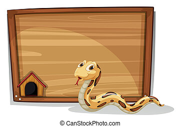 A snake in front of an empty board - Illustration of a snake...