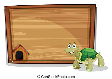 A turtle in front of an empty board