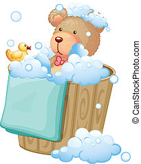 A bear inside the pail full of bubbles - Illustration of a...