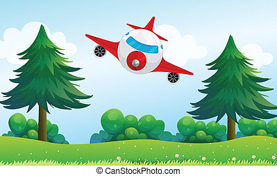 An airplane above the hills - Illustration of an airplane...