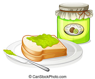 A sandwich with a jam - Illustration of a sandwich with a...