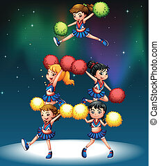 A cheering squad - Illustration of a cheering squad
