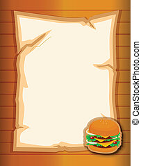 An empty stationery with a burger - Illustration of an empty...