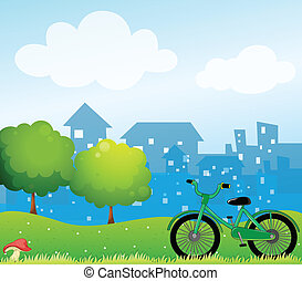 A bicycle in front of the village - Illustration of a...
