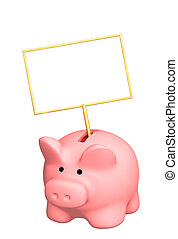 Piggy bank with poster - object over white