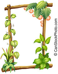 A frame made of woods with plants