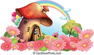 A mushroom house with a garden of flowers - Illustration of...