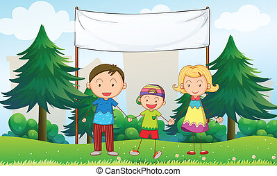A family at the park with an empty banner