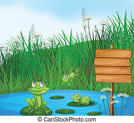 Three playful frogs at the pond beside an empty signage -...