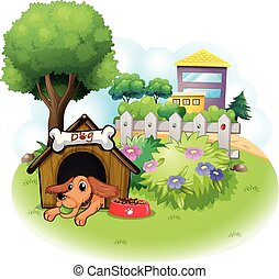 A dog inside a doghouse across the big buildings -...