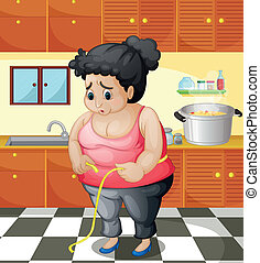 A fat woman inside the kitchen - Illustration of a fat woman...