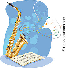 A saxophone with a musical book