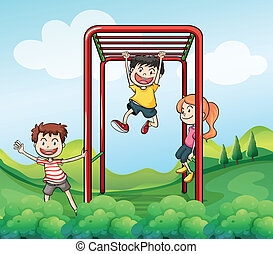 Three kids playing at the park - Illustration of the three...