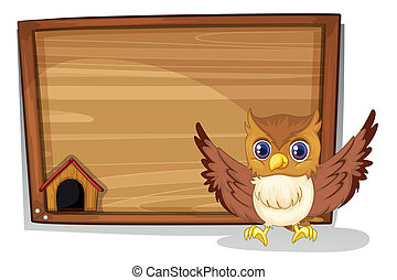 An owl in front of an empty board