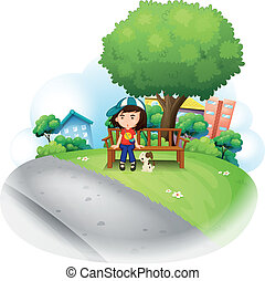 A girl sitting at the wooden bench near the big tree -...