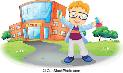 A scientist in front of a school building - Illustration of...