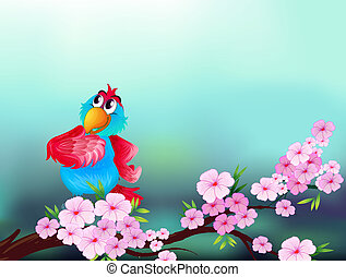 A parrot at the branch of a tree with pink flowers -...
