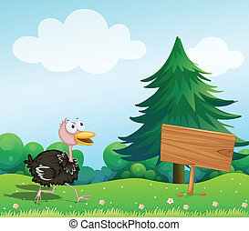 An ostrich near an empty board - Illustration of an ostrich...