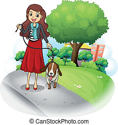 A woman with her dog at the road - Illustration of a woman...