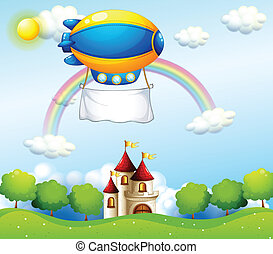 An airship with an empty banner above a castle -...