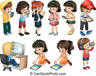 Different activities of young women - Illustration of the...