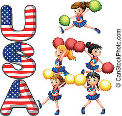 The USA cheering squad - Illustration of the USA cheering...