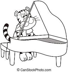 Cartoon Tiger Playing a Piano