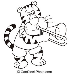 Cartoon Tiger Playing a Trombone - Cartoon tiger playing a...