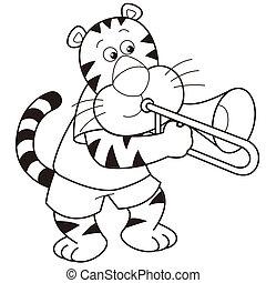 Cartoon Tiger Playing a Trombone - Cartoon tiger playing a...